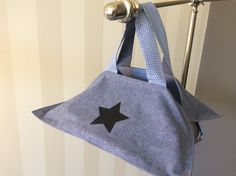 Sac à tarte réversible chambray bleu et étoile noire à paillettes : Cuisine et service de table par fleur-de-laine