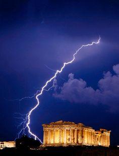 Flash of lightning illuminates, The Parthenon, Athens