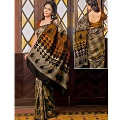 Cream coloured printed saree fabricated by Prafful, for you, made of Jute Silk, this saree measures 6.30 in length with unstitched blouse piece.