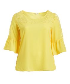 Love this Yellow Lace-Detail Bell-Sleeve Top - Plus on #zulily! #zulilyfinds