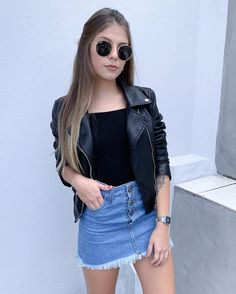 Leather jacket and denim skirt Girly Outfits, Stylish Outfits, Fall Outfits, Summer Outfits, Cute Outfits, Teen Fashion, Fashion Outfits, Womens Fashion, Moda Fashion
