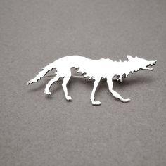 LONE WOLF lapel pin wolf jewelry sterling silver by MetalObjects
