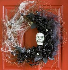 halloween skull spiderweb black roses wreath this is cool