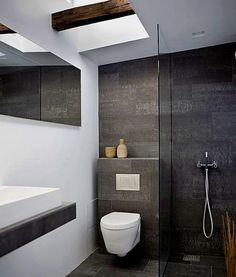 Modern Small Bathroom Design The Basic Components of Modern Bathroom Designs Modern Small Bathroom Design. Incorporating a modern bathroom design will give you a more … Modern Small Bathrooms, Small Bathroom Tiles, Ensuite Bathrooms, Bathroom Toilets, Bathroom Design Small, Bathroom Renos, Grey Bathrooms, Beautiful Bathrooms, Bathroom Interior