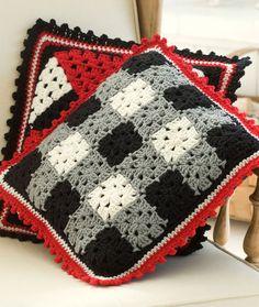 Plaid Pillow free crochet pattern