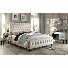 Natural Linen Queen Size Button Tufted Upholstered Bed Shopping Plush And Upholstered Beds