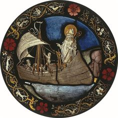 St Nicholas Blessing the Sailors. Mosaics and Stained-Glass Nuremberg, Germany – Circa 1500, Workshop of Mikhael Wolgemut