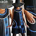 Robe Bleue et Noire Trapèze de Style Graphique au tartan écossais : La valeur sure de l'Automne Hiver