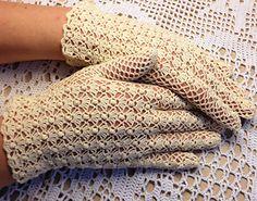 Crochet Lace Gloves N 540 Popcorn Stitch vintage gloves