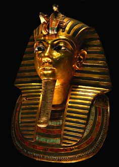 The death mask of Tutankhamun, unearthed in a remarkably good state of preservation in the Valley of the Kings in 1922.