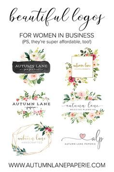 this post contains an affiliate link, if you purchase i could earn a small commission from this site ( thank you for all your support ) These beautiful lovely logos are super affordable for the everyday girl looking for a professional design for their new Branding Your Business, Branding Kit, Business Logo, Branding Design, Logo Design, Business Cards, Blog Logo, Floral Logo, Craft Business