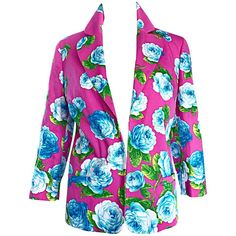 Vintage Gianni Versace Hot Pink   Blue   Green 3/4 Sleeves Roses Blazer Jacket | From a collection of rare vintage jackets at https://www.1stdibs.com/fashion/clothing/jackets/