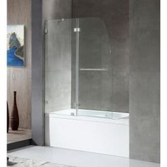 Delta Classic 400 Curve 60 in. x 62 in. Frameless Sliding Tub Door in Stainless-B55910-6030-SS - The Home Depot Bathtub Doors, Shower Doors, Shower Tub, Bath Tub, Bathtub Paint, Glass Shower, Tub Enclosures, Shower Enclosure, Modern Towel Bars