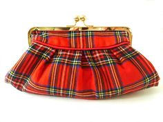 red plaid clutch rare 70's vintage Royal Stewart by BoudicaBags