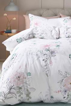 Buy Watercolour Floral TENCEL™ Blend Duvet Cover And Pillowcase Set from the Next UK online shop King Size Duvet Covers, Bed Duvet Covers, Best Bedding Sets, Luxury Bedding Sets, Queen Comforter Sets, Duvet Bedding Sets, Comforters, Mirrored Bedroom Furniture, Bedroom Decor