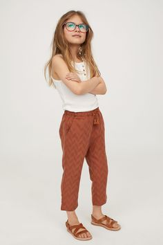 Ankle-length pants in soft, dobby-weave fabric made from Tencel™ lyocell. Little Girl Outfits, Cute Outfits For Kids, Little Girl Fashion, Toddler Outfits, Cool Outfits, Summer Outfits, Fashion Kids, Preteen Fashion, Toddler Fashion