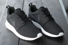 Nike Black and White Roshe Run - casual running shoes