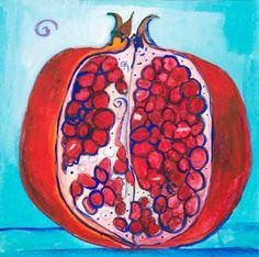 Food Art - Pomegranate Luck - original gouache on paper - $65