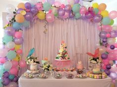 Pastry table #cookies #cakes #cupcakes #floral balloons