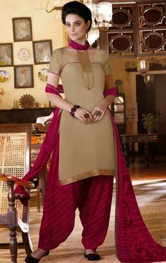 USD 28.46 Beige Cotton Patiala Suit 44390