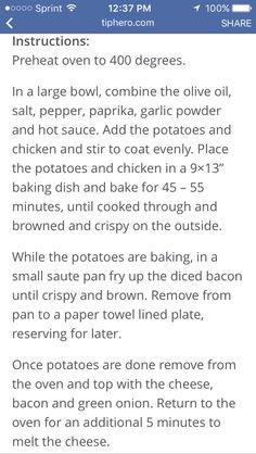 Loaded chicken and potatoes instructions