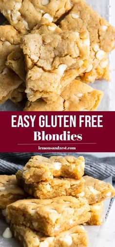 These Gluten Free Blondies Are Rich And Gooey And Full Of Rich White Chocolate Chips. Because You Can't Have Gluten Doesn't Mean You Should Miss Out On A Traditional Treat. This Classic Bar Recipe Is Easy And Delicious- - Everyone Will Enjoy Them Gf Recipes, Dairy Free Recipes, Dessert Recipes, Desserts Keto, Easy Recipes, Bon Dessert, Gluten Free Sweets, Gluten Free Cookie Cake Recipe, Easy Gluten Free Cookies