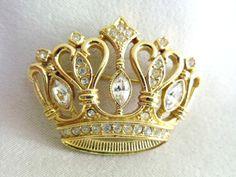 Vintage KJL Crown Brooch, Kenneth Lane Rhinestone Crown Pin, KJL for Avon