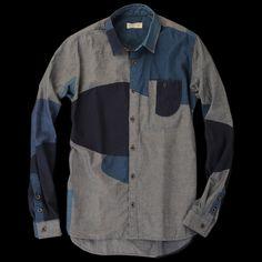 """Block Print Chambray Shirt"" by Folk $299"