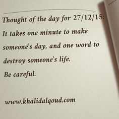 Khalid AlQoud - Thought of the day for 27/12/15:  It takes one...