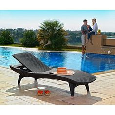 Keter Pacific 2 Pack All Weather Adjustable Outdoor Patio Chaise Lounge  Furniture, White