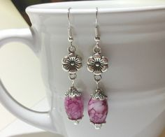 Earrings  Rose Pink Beads  Silver Flower by CraftyChic90 on Etsy, $4.50