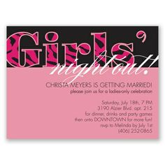 Girls Night Out - Party Invitation! #davidsbridal #bacheloretteparty #invitations