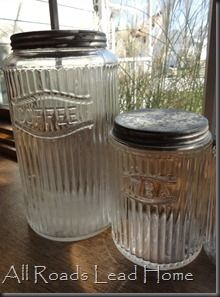 From All Roads Lead Home. I have these two as well has 4 more tall ones. When there was just the two of us they were a great size. Vintage Canisters, Glass Canisters, Antique Glass Bottles, Vintage Bottles, Shabby Vintage, Vintage Table, Vintage Antiques, Old Kitchen, Vintage Kitchen