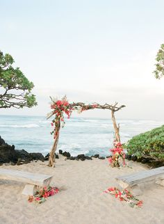 The Perfect Wedding Arch for Every Theme and Style beach wedding 10 Perfect Wedding Arches for Every Theme and Style Small Beach Weddings, Simple Beach Wedding, Beach Wedding Reception, Romantic Beach, Beach Ceremony, Beach Wedding Decorations, Hawaii Wedding, Perfect Wedding, Destination Wedding
