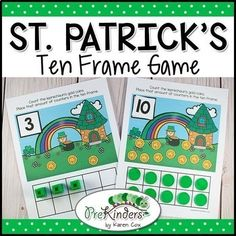 This hands-on St. Patrick's Day Ten Frame Game will help children practice counting skills using real objects. Children will count the leprechaun's gold coins on each mat and count out the same number of Unifix cubes (or other counter) to place in the ten frame.