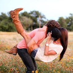 engagement photos- love the hat covering her face