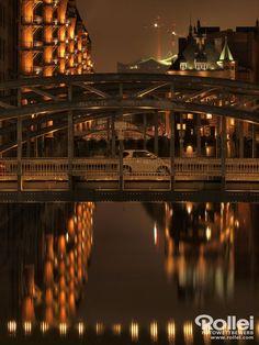Speicherstadt bei Nacht Rollei #Fotowettbewerb