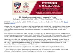 Gina Miller Media to produce two shows this season for FC Dallas. #DTID.