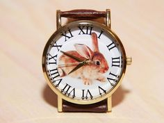 Rabbit watch watch with a beast wristwatch with a hare brown watch ladies Big Watches, Seiko Watches, Cool Watches, Unique Watches, Popular Watches, Casual Watches, Male Watches, Cheap Watches, Analog Watches