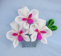 Orchid Trio Tsumami Kanzashi Silk Hair Comb by HanamiGallery, $35.00