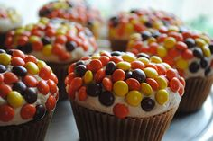 Stuffed Reeses Pieces Cupcakes