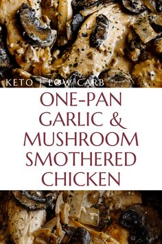 A creamy garlic, chicken and mushroom dish. Cook this one up on busy weeknights. Butter, garlic, and cream combine for the perfect dinner combo! Healthy Low Carb Recipes, Ketogenic Recipes, Keto Recipes, Cooking Recipes, Dessert Recipes, Breakfast Recipes, Dinner Recipes, Mexican Breakfast, Shake Recipes