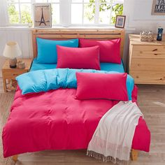 Fashion Rose red+blue Solid color Polyester Fiber Bedding Set Home Textile 4PCS duvet Cover+Bed Sheet+Pillowcase queen king size #Affiliate