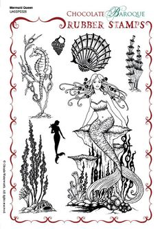 Mermaid Queen Rubber stamp sheet - A5 - Chocolate Baroque