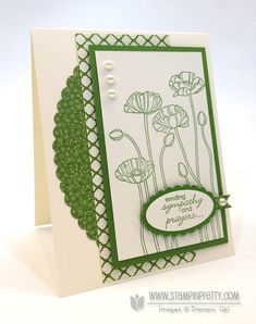 Pleasant Poppies Sympathy Card by Mary Fish. A two colour piece, accentuated with a single pearl. ♥ the simplicity and elegance of this card. Card Making Inspiration, Making Ideas, Poppy Cards, Stampin Pretty, Get Well Cards, Sympathy Cards, Greeting Cards, Pretty Cards, Cool Cards