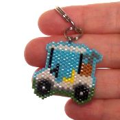 Golf Cart seed bead pattern. Delica seed beads. Peyote or brick stitch.