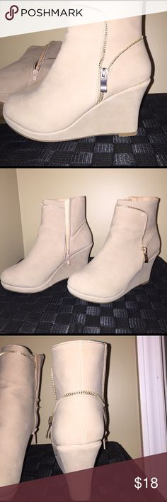 Top Moda Ankle Bootie Wedges Worn one time!! Has 2 super faint marks on wedge. Can be cleaned off. Suede material!! Light taupe color. Zipper on both sides!! Top Moda Shoes