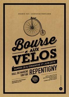 Affiche Kraft Bourse aux vélos - Le Moulin à Puces Vintage Graphic Design, Graphic Design Posters, Vintage Designs, Velo Design, Logo Food, Le Moulin, Cursed Child Book, Cycle, Flyers