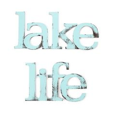 Letter2Word Hand Painted Lake Life 3D Wall Sculpture -Blue, Bay Blue (€61) ❤ liked on Polyvore featuring home, home decor, text, bay blue, phrase, quotes, saying, distressed home decor, blue home accessories and blue home decor
