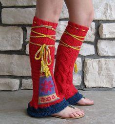 Tribal Flair Leg Warmers Hippie Clothing Boho Clothing Upcycled Leg Warmers Upcycled Sweater Tribal Clothing